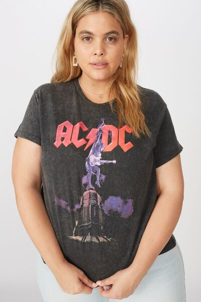 Curve Graphic License Tee, LCN PER ACDC LIGHTNING/BLACK