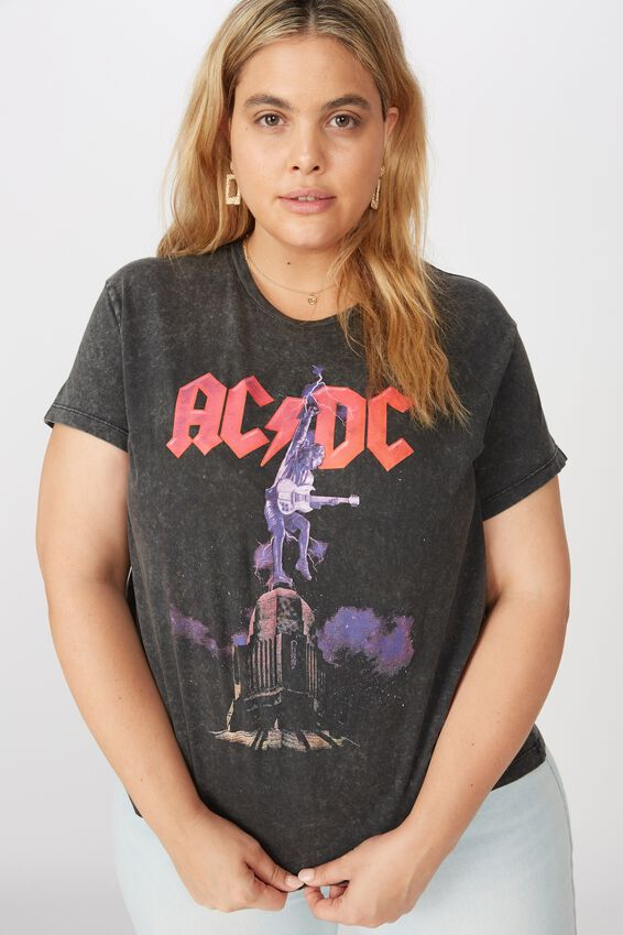 Curve Graphic License Tee, LCN PER ACDC LIGHTNING ROCK/BLACK