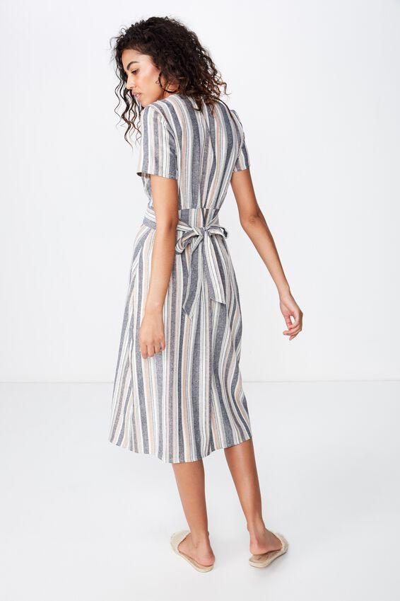 Woven Cherry Button Front S/S Midi Dress, LYDIA STRIPE MOOD INDIGO