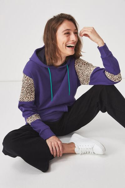 Premium Fashion Hoodie, DEEP WESTERIA/LIGHTNING LEOPARD SPLICE