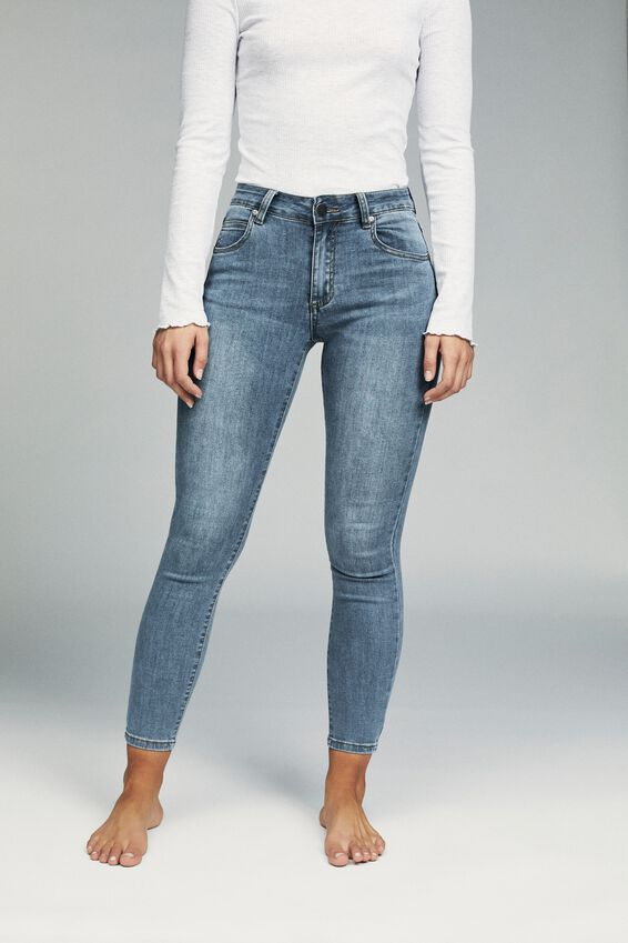 Mid Rise Cropped Skinny Jean, CORE BLUE