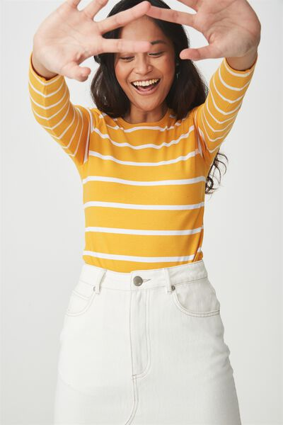 Basic Fitted Crew Long Sleeve Top, NINA STRIPE SUNFLOWER/WHITE