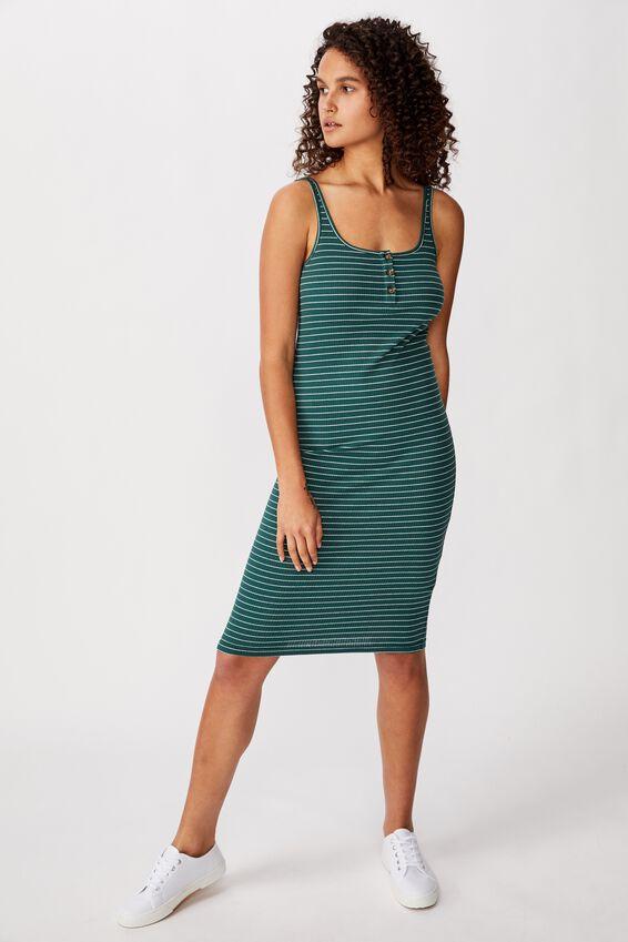 Kaylee Bodycon Midi Dress, JENNY STRIPE MALLARD GREEN RIB