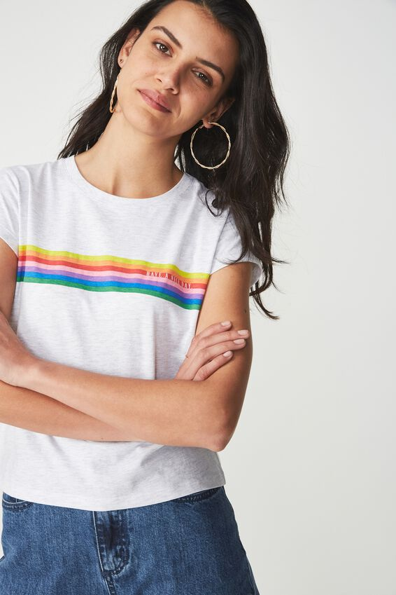 Tbar Rachael Graphic Tee Shirt, HAVE A NICE DAY/SILVER MARLE