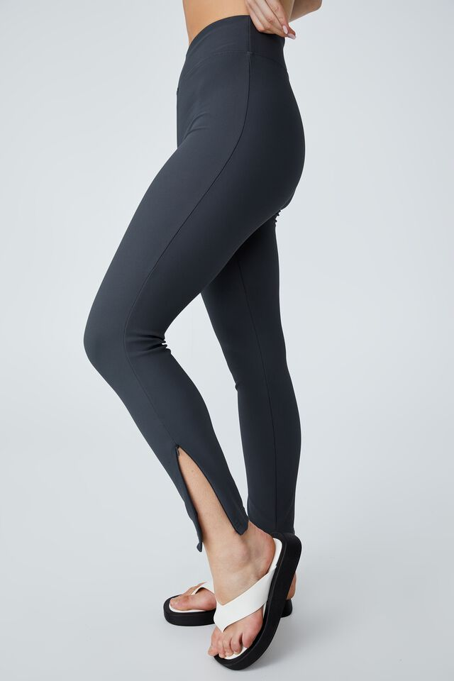 Side Zip Rib Legging, CHARCOAL