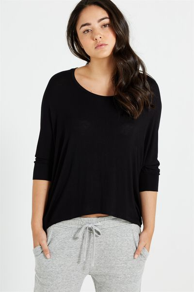 Bianca Long Sleeve Top, BLACK