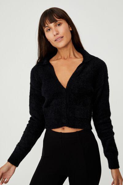 Super Luxe Super Crop Cardigan, BLACK