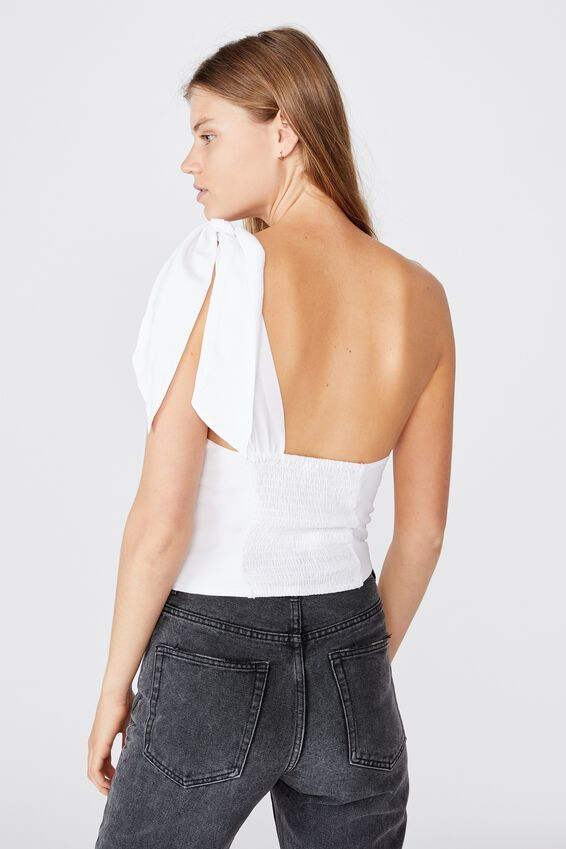 Party Time One Shoulder Top, WHITE