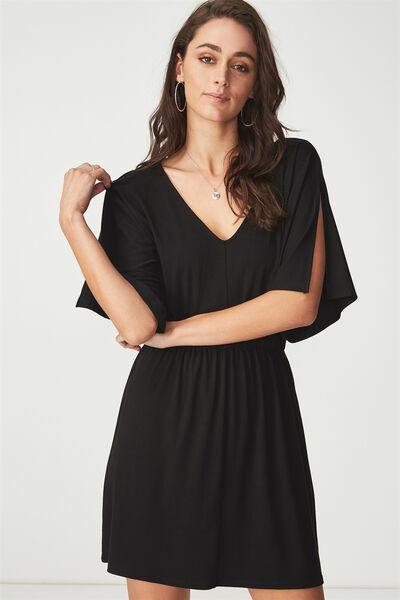 Reina V Neck Fit Flare Dress, BLACK