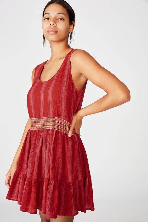 Woven Bronwyn Sleeveless Tiered Mini Dress, LOLA STRIPE GOJI BERRY/STITCH
