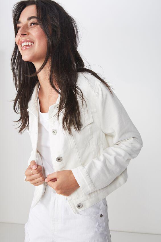 Girlfriend Fashion Denim Jacket, WHITE