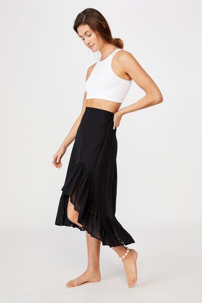 Atlas Ruffle Midi Skirt, BLACK