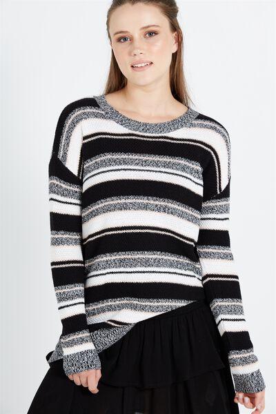 Archy 3 Pullover, BLACK MULTI STRIPE