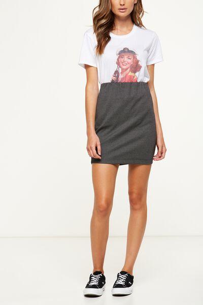 Poppy Pull On Mini Skirt, BLACK