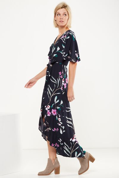 Woven Dallas Cape Sleeve Maxi Dress, SOPHIA FLORAL TOTAL ECLIPSE