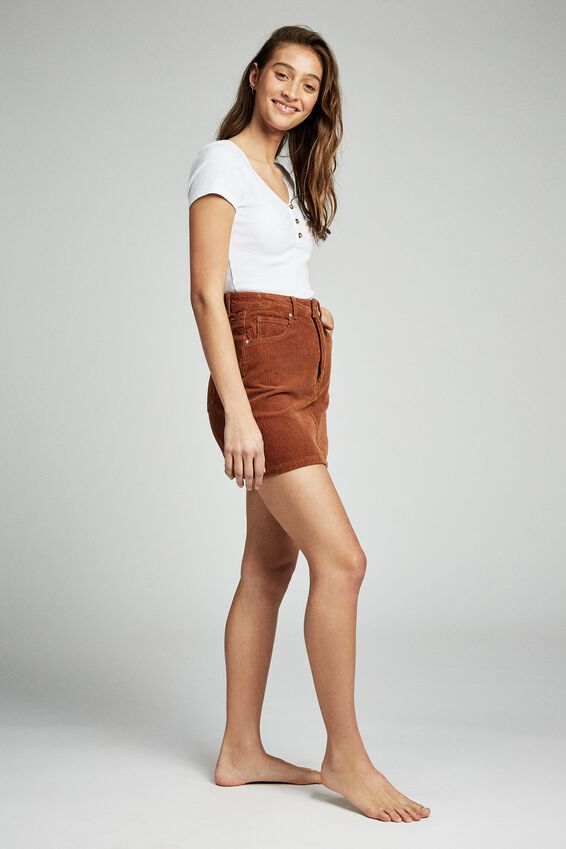 Woven Havana Cord Mini Skirt, TOBACCO