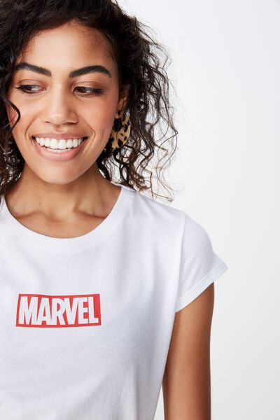 Essential Tv Movie T Shirt, LCN DIS MARVEL LOGO/WHITE