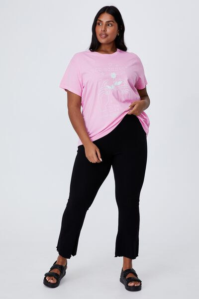 Curve Graphic Tee, LET YOURSELF GROW/PINK CHERRY