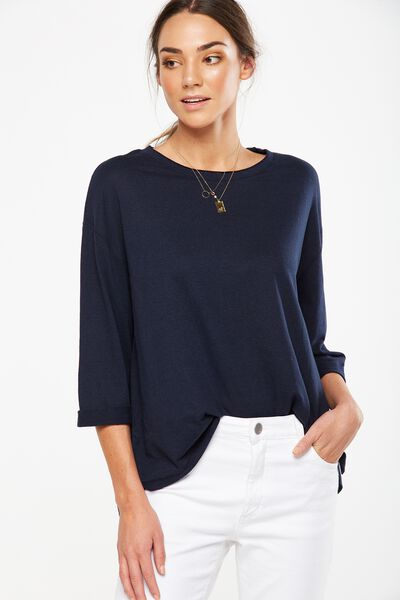 Jacklyn Oversized Long Sleeve Top, DEEPEST NAVY