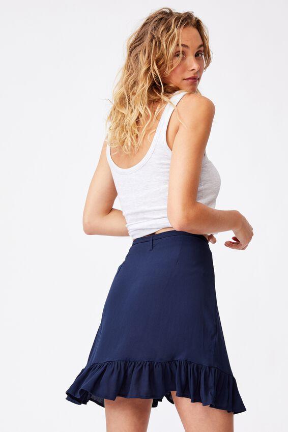Naomi Frill Wrap Mini Skirt, MEDIEVAL BLUE