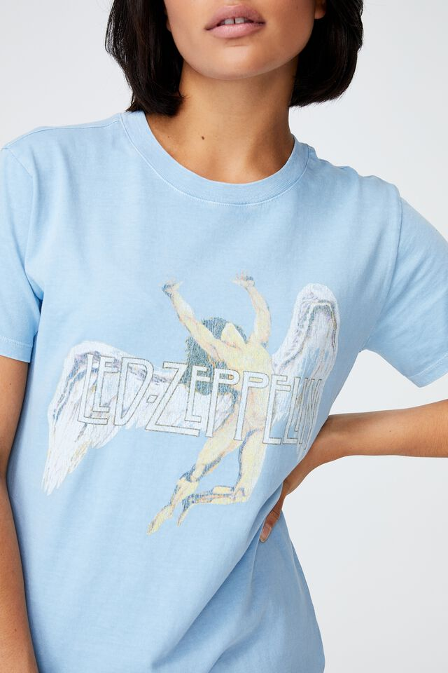 Classic Led Zeppelin T Shirt, LCN PRO LED ZEPPELIN ANGEL/AUTHENTIC BLUE