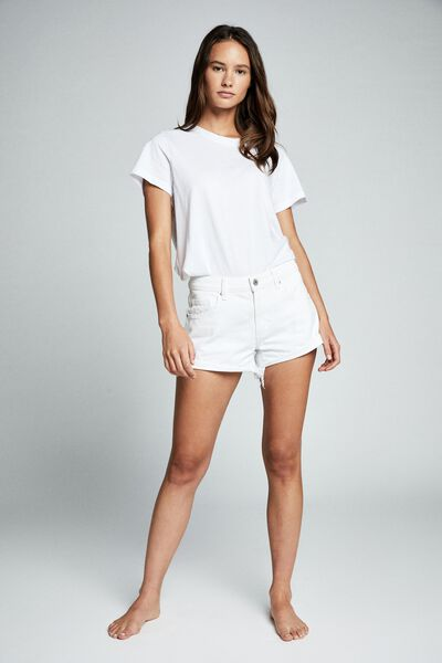 Mid Rise Saturday Denim Short, NEW WHITE