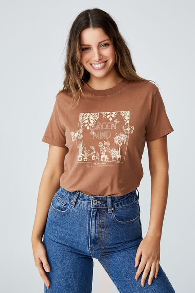 Classic Organic Cotton Graphic T Shirt, GREEN MIND/LEAF BROWN