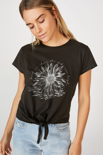 Tie Front Tee, HIGH TIDES/WASHED BLACK
