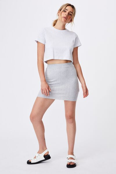 Ultimate Knit Cable Mini Skirt, GREY MARLE