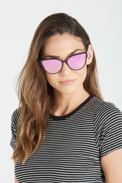 Mandy Cat Eye Sunglasses, BLACK/PINK
