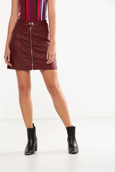 Coated A Line Skirt, TIBETAN RED