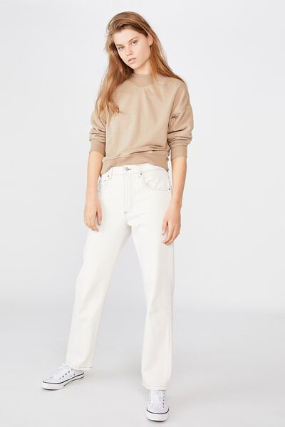Billie Mock Neck Pullover, NATURAL