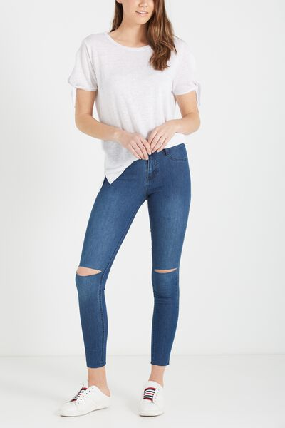 Mid Rise Jegging, WORN 70S BLUE KNEE SLASH