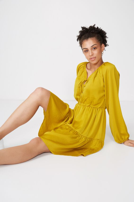 Woven Satin Tea Dress, GOLDEN PALMS