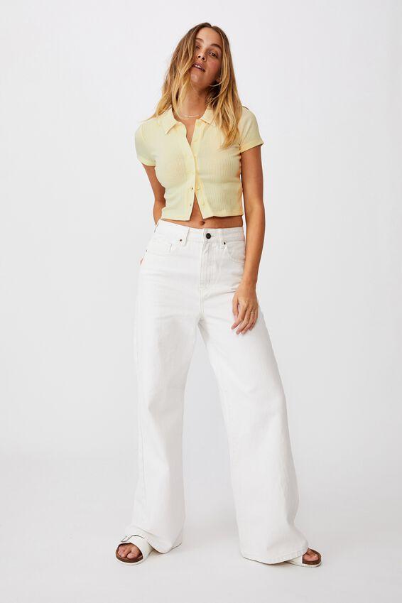 Mila Polo Short Sleeve, LEMON