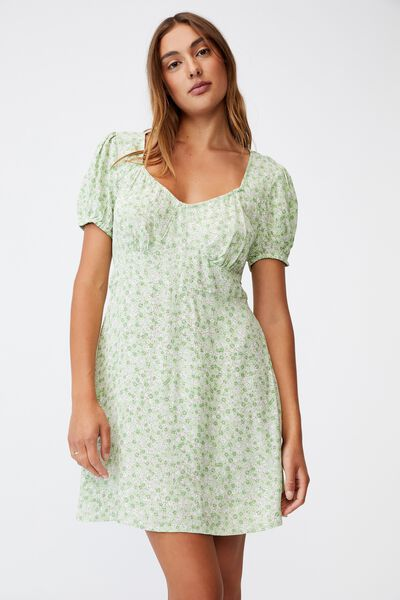 Woven Essential Tie Back Mini Tea Dress, KENDELLE DITSY SPRING MINT