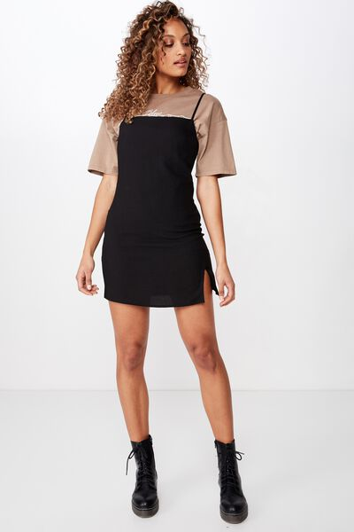 Woven Kylie Strappy Mini Dress, BLACK