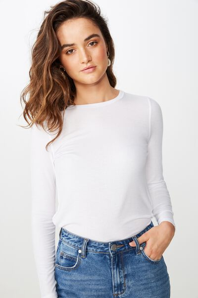 The Girlfriend Long Sleeve Top, WHITE