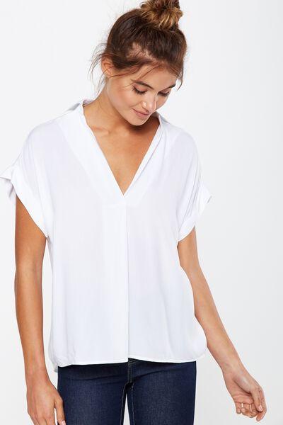 Susan Short Sleeve Top, WHITE