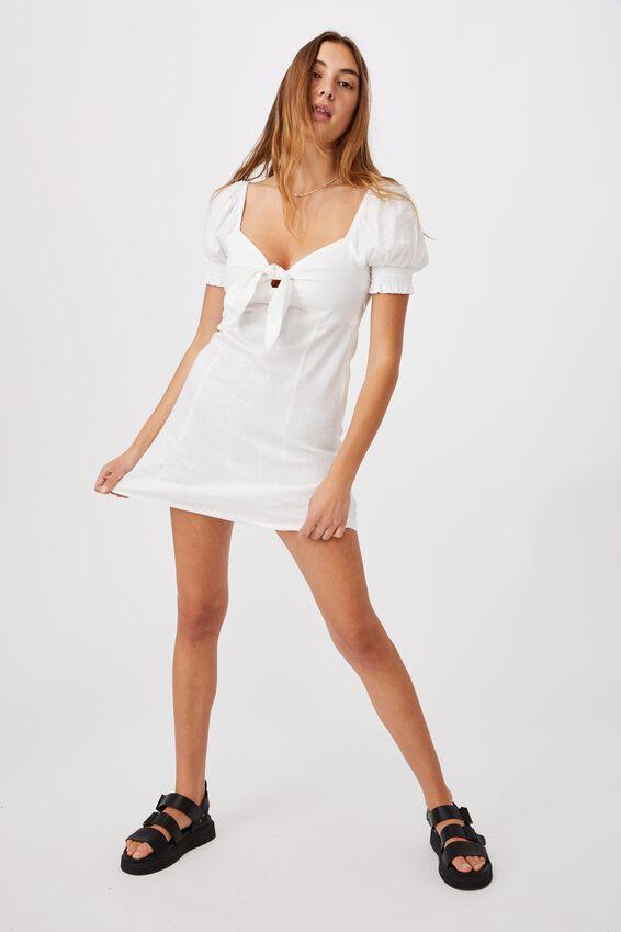 Woven Charlie Tie Front Mini Dress, WHITE