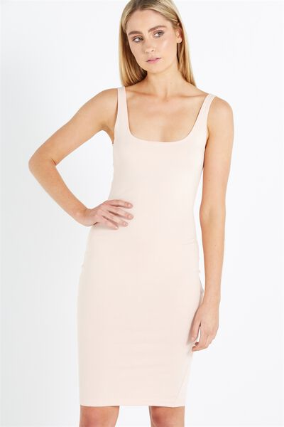 Kimi Scooped Bodycon Midi Dress, PINK SAND