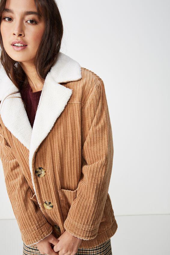 Carlette Sherpa Cord Coat, TAN/CREAM