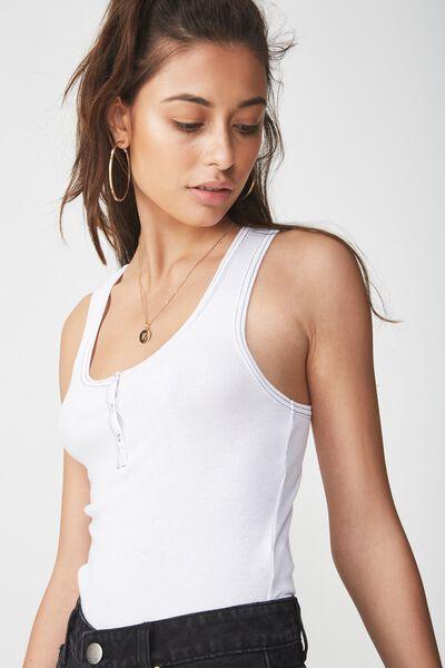 Abbie Henley Scoop Sleeveless Bodysuit, WHITE