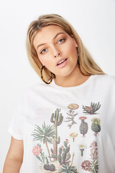 Curve Graphic Tee, NATIVE CACTI/WHITE