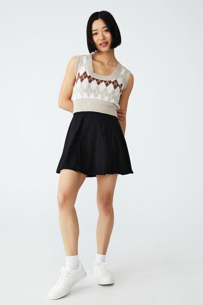 Woven Becca Pleated Mini Skirt, BLACK