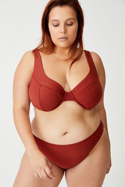 Curve Underwire Bikini Top, RUST RIB