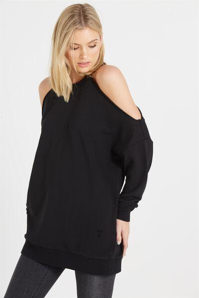 Clancy Cold Shoulder Sweater, BLACK