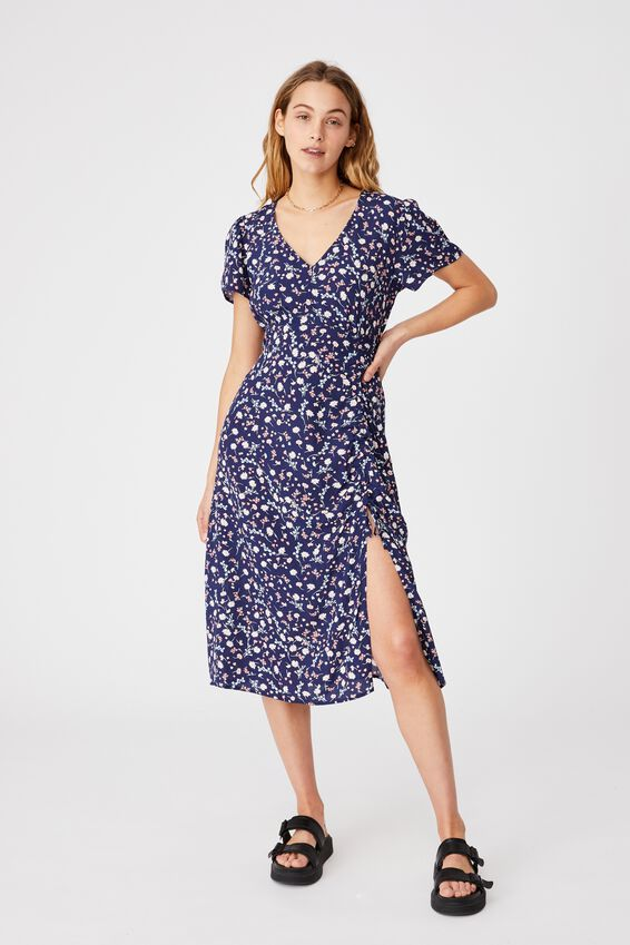 Woven Imogen Ruched Midi Dress, JORDIE FLORAL MEDIEVAL BLUE