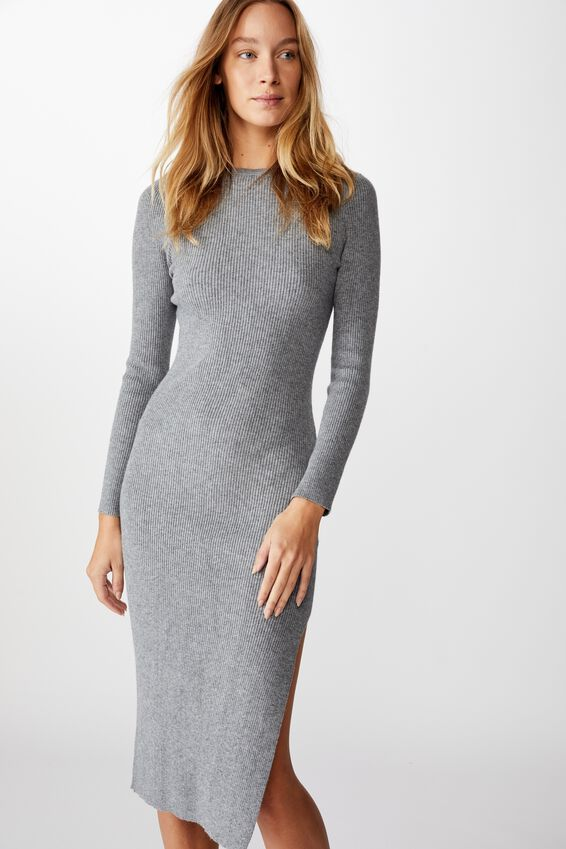 Ella Long Sleeve Maxi Split Dress, FLINT STONE MARLE