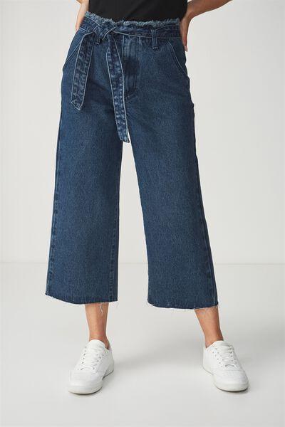 Mid Rise Wide Leg Crop Jean, DARK BLUE TIE WAIST